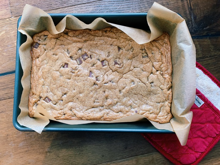 Browned Butter Blondies with Chocolate Chunks